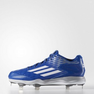 Adidas Poweralley 3 Metal Baseball Cleats Blue Silver White
