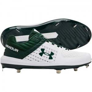 Under Armour Men's Yard Low ST Metal Baseball Cleats (White/Forest)