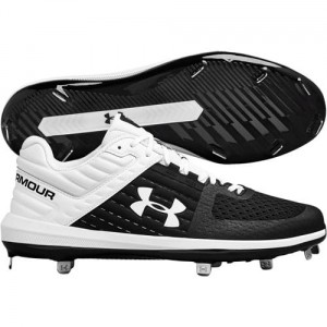 Under Armour Men's Yard Low ST Metal Baseball Cleats (White/Black)